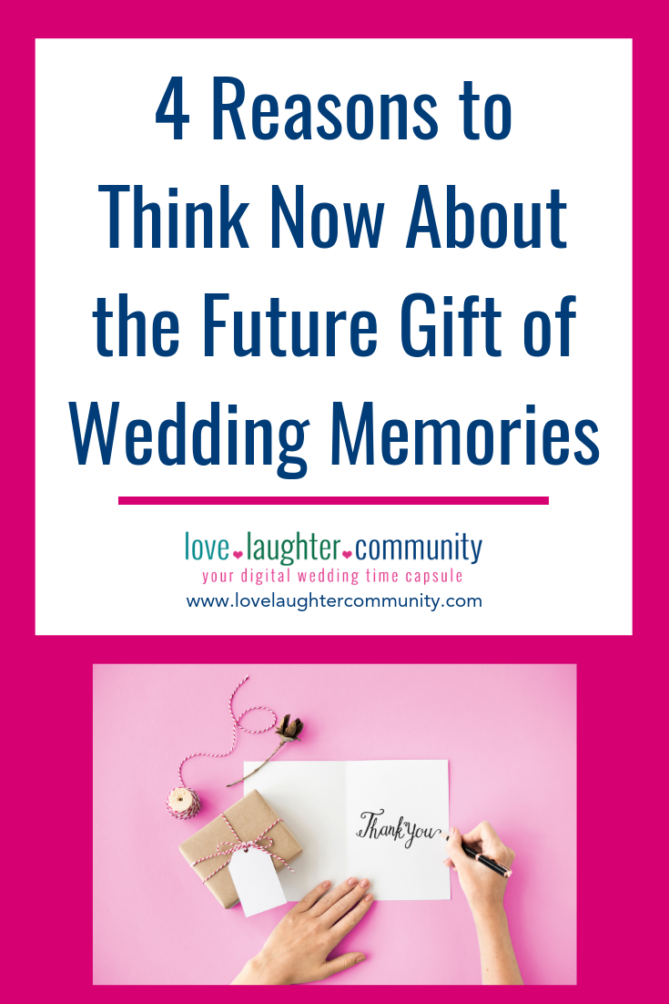The future gift of wedding memories for a couple getting married.